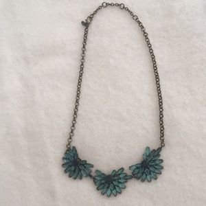 JCrew Green Flower Statement Necklace